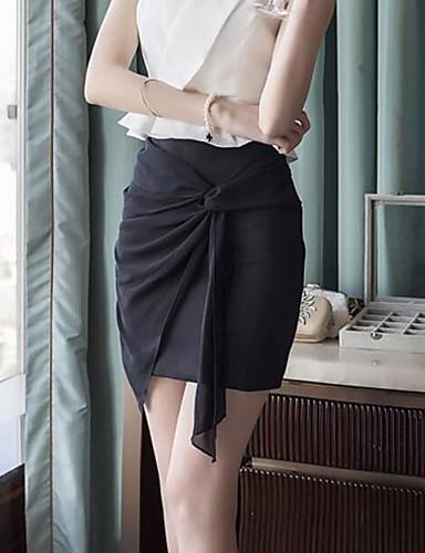 Damen Ausgehen Asymmetrisch Röcke A-Linie einfarbig Sommer