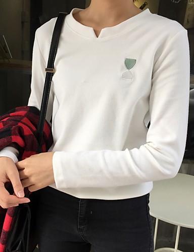 Damen Solide - Freizeit Baumwolle T-shirt, V-Ausschnitt