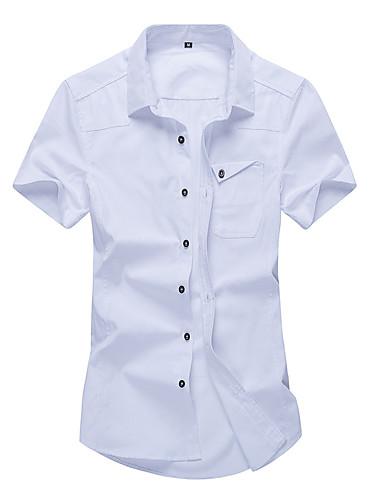Homens Camisa Social Clássico, Sólido Algodão