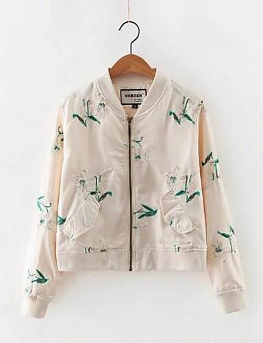 Damen Geometrisch Einfach Lässig/Alltäglich Jacke,V-Ausschnitt Frühling Lange Ärmel Kurz Baumwolle Polyester