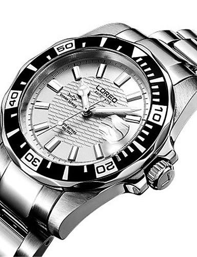 Pánské Módní hodinky mechanické hodinky Automatické natahování Voděodolné Nerez Kapela Stříbro Orange