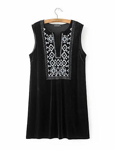 Damen Lose Etuikleid Kleid-Ausgehen Lässig/Alltäglich Einfach Street Schick Druck Rundhalsausschnitt Midi Ärmellos Seide Baumwolle Sommer