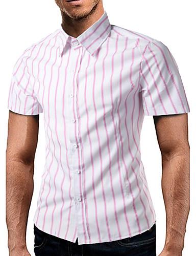 Pánské Tisk Denní Na běžné nošení Košile Bavlna Košilový límec Krátký rukáv