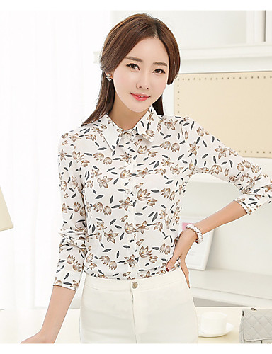 Damen Druck Einfach Lässig/Alltäglich Hemd,Hemdkragen Langarm Baumwolle