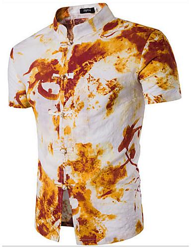 Pánské Tisk Denní Na běžné nošení Košile Bavlna Stojáček Krátký rukáv