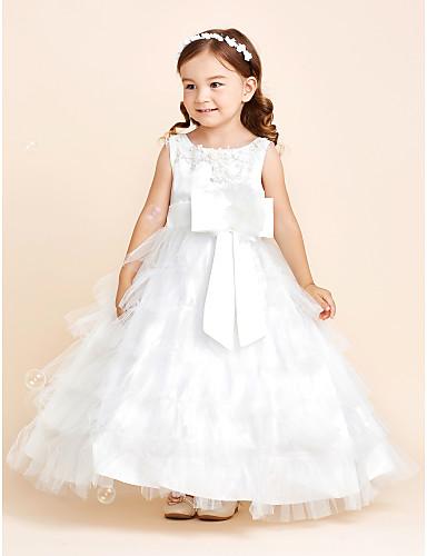 Ball gown lattia pituus kukka tyttö mekko - satiini tulle hihaton jalokivi kaulana kukka