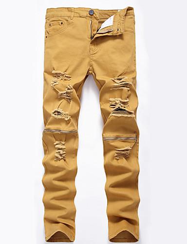 Men's Cotton Loose / Slim / Jeans Pants - Solid Colored