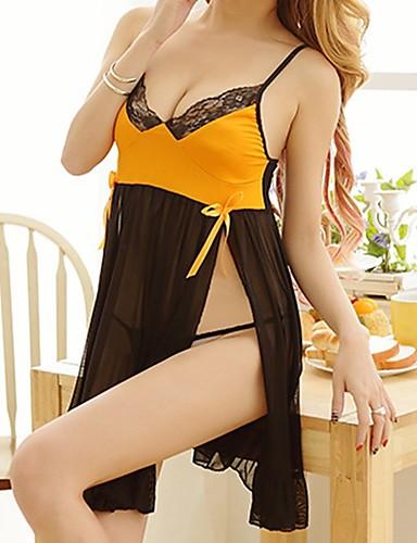 Damen Besonders sexy Anzüge Nachtwäsche,Sexy Spitze Einfarbig-Nylon Elasthan