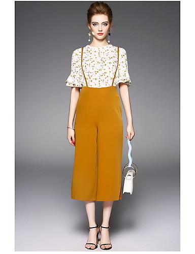 Damen Solide Blumen Moderne Alltag Bluse Hose Anzüge,Rundhalsausschnitt Sommer Kurzarm