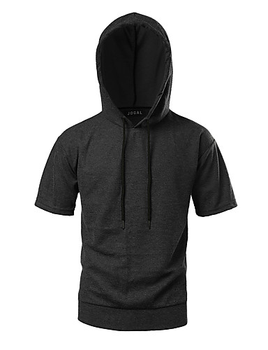 Herren Kapuzenshirt Sportlich Alltag Normal Sport Outdoor Kleidung Solide Mikro-elastisch Polyester-Taft Kurzarm Sommer Herbst
