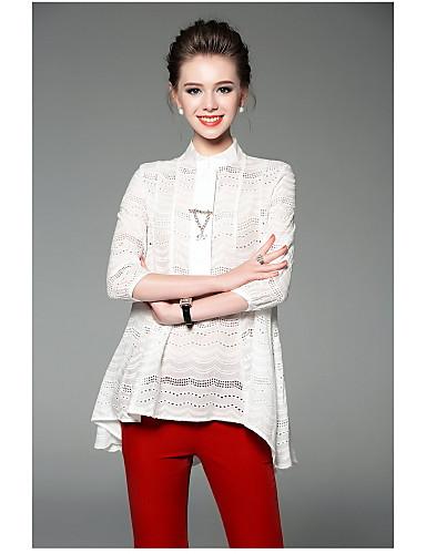 Damen Solide Einfach Alltag Bluse,Ständer Sommer Polyester Dünn