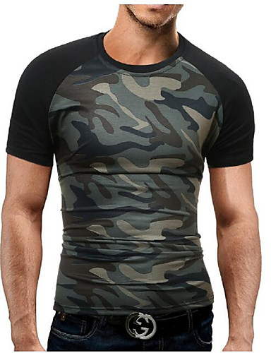 cheap Men's Tees & Tank Tops-Men's Daily Sports Weekend Military Plus Size Cotton Slim T-shirt - Camo / Camouflage Print Round Neck Black XL / Short Sleeve / Summer