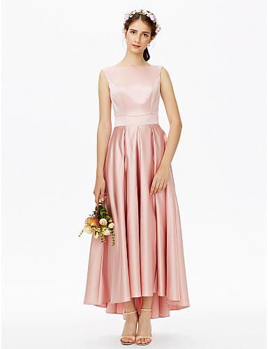 7cf012d4453c A-Line Bateau Neck Asymmetrical Satin Bridesmaid Dress with Sash / Ribbon  Pleats by LAN TING BRIDE®