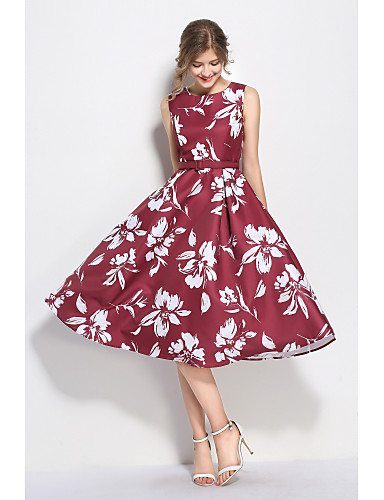 Women's Going out Vintage / Sophisticated Sheath Dress - Floral Formal Style / Retro / Floral Style High Rise / Summer / Fall / Floral Patterns