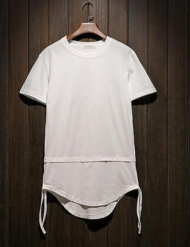 Homens Camiseta Sólido Algodão Decote Redondo / Por favor, sempre escolha um número maior que o seu número normal. / Manga Curta