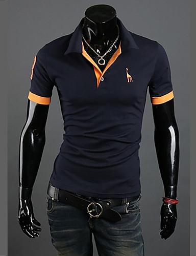 abordables Camisetas y Tops de Hombre-Hombre Activo Tallas Grandes Algodón Polo, Cuello Camisero Delgado Un Color Gris XL / Manga Corta / Verano