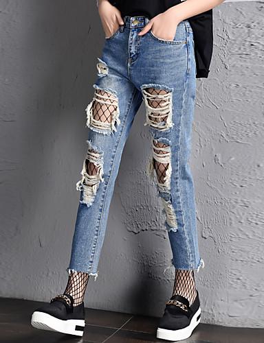 Damen Freizeit Hohe Hüfthöhe Jeans Lässig Hose Solide