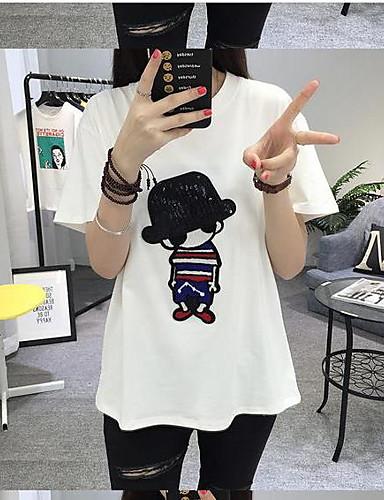 Damen Druck - Einfach Baumwolle T-shirt / Sommer