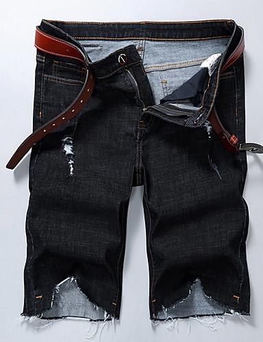 Homens Casual Activo Moda de Rua Tamanhos Grandes Algodão Solto Shorts Jeans Calças - Sólido rasgado