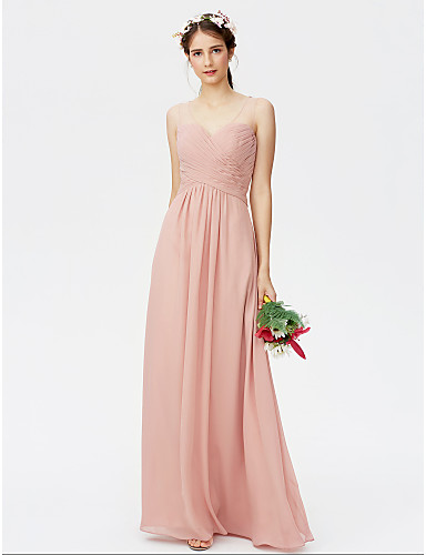 Sheath / Column Straps Floor Length Chiffon Bridesmaid Dress with Pleats Ruched Criss Cross by LAN TING BRIDE®