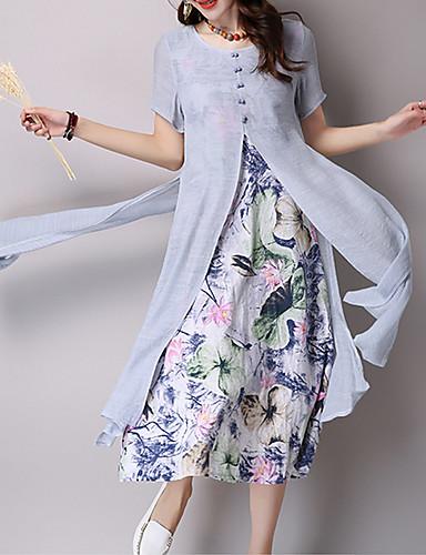 Mulheres Para Noite Sofisticado Bainha Vestido - Estampado, Floral Cintura Alta Altura dos Joelhos / Padrões florais