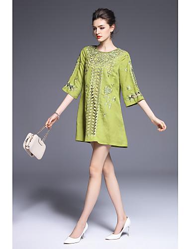 Damen Lose Kleid-Ausgehen Lässig/Alltäglich Niedlich Stickerei Rundhalsausschnitt Übers Knie Polyester Frühling Sommer Mittlere Hüfthöhe