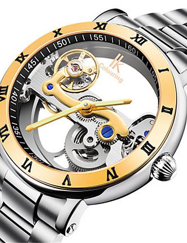 Pánské Hodinky s lebkou Módní hodinky mechanické hodinky Automatické natahování Voděodolné Svítící Slitina Kapela Stříbro