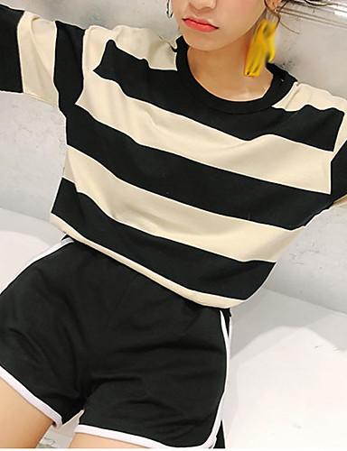 Damen Gestreift - Freizeit Baumwolle T-shirt