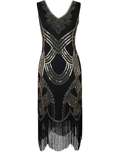 Eng anliegend V-Ausschnitt Polyester Cocktailparty Kleid mit Paillette durch Z&X
