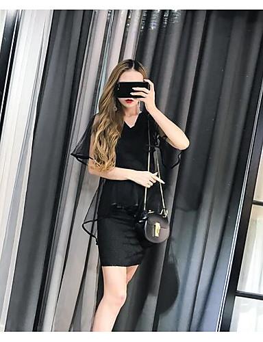 Dámské Jednobarevné Běžné/Denní Jednoduchý Trička Sukně Obleky-Léto Do V Bez rukávů Mikro elastické