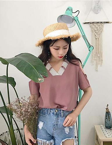 Dámské - Jednobarevné Na běžné nošení Tričko Bavlna Do V