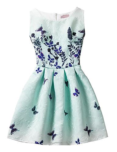 Kinder Mädchen Blumig / Schleife Geometrisch / Modisch Druck Ärmellos Kleid / Baumwolle