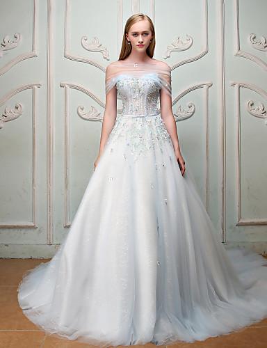 De Baile Princesa Sem Alças Cauda Corte Cetim Tule Ensaio de Casamento Evento Formal Vestido com Miçangas Lantejoulas Faixa Flor de QZ