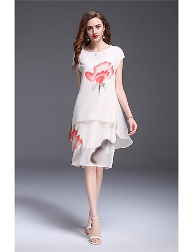 Damen Etuikleid Kleid-Ausgehen Lässig/Alltäglich Urlaub Retro Einfach Chinoiserie Blumen Rundhalsausschnitt Knielang Ärmellos Polyester