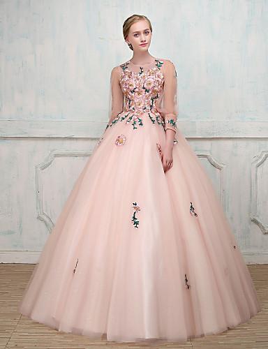 2a72e0bd806 Βραδινή τουαλέτα / Πριγκίπισσα Illusion Seckline Μακρύ Τούλι Επίσημο  Βραδινό Φόρεμα με Χάντρες / Κέντημα /