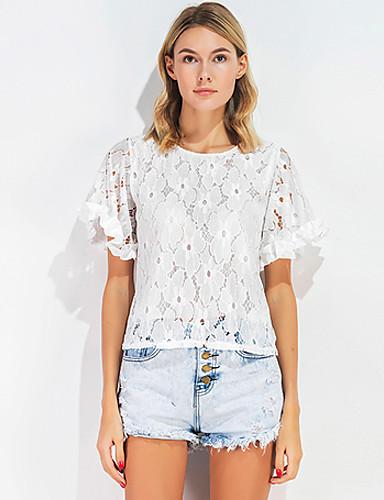 Damen Solide Freizeit Alltag Ausgehen T-shirt,Rundhalsausschnitt Kurzarm Seide Baumwolle