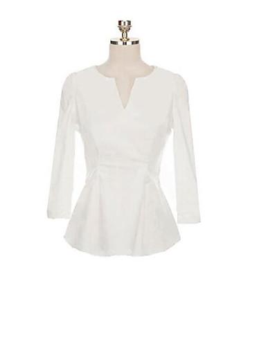 Dámské - Jednobarevné Tričko Bavlna Do V