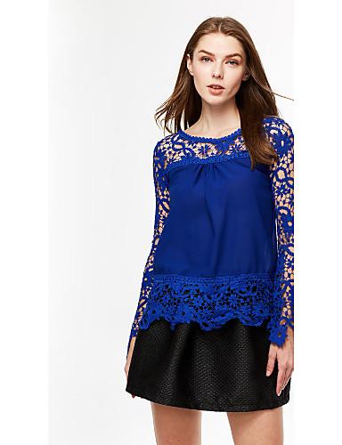 Mulheres Blusa Happy-Hour Plus Sizes / Sensual Primavera,Sólido Azul / Rosa / Vermelho / Branco / Preto / Verde / Amarelo / Roxo Algodão