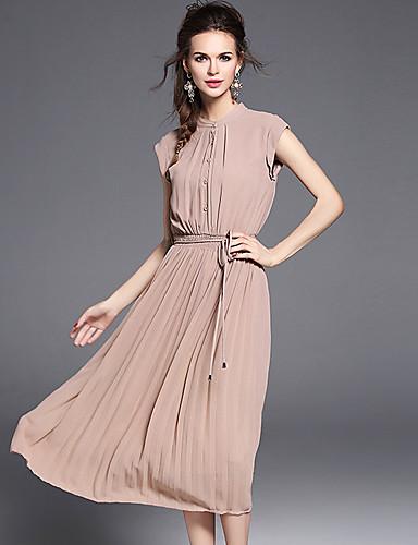 Damen A-Linie Hülle Kleid Einfach Boho Anspruchsvoll Solide Ständer Midi Ärmellos Polyester Sommer Mittlere Hüfthöhe Unelastisch Mittel