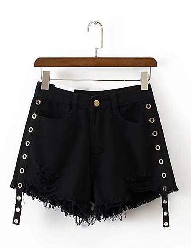 Damen Einfach Hohe Taillenlinie Unelastisch Kurze Hosen Lässig Hose Solide