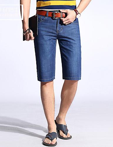 Pánské Jednoduchý Mikro elastické Džíny Kraťasy Kalhoty Rovné Štíhlý Mid Rise Jednobarevné
