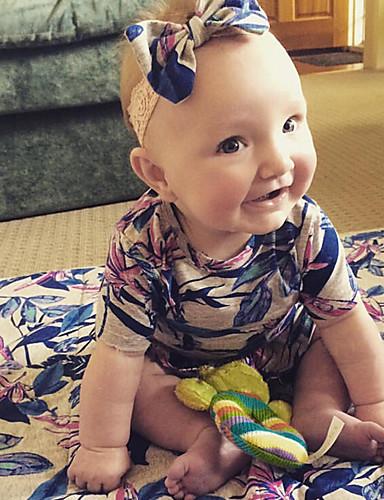 Baby Mädchen Einzelteil Blumen Vintage Modisch Baumwolle Sommer Kurzarm Blumig Blau