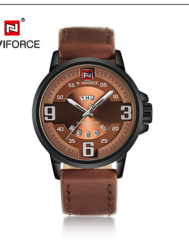 NAVIFORCE Men's Dress Watch Fashion Watch Japanese Quartz Calendar / date / day Water Resistant / Water Proof Leather Band Casual Cool