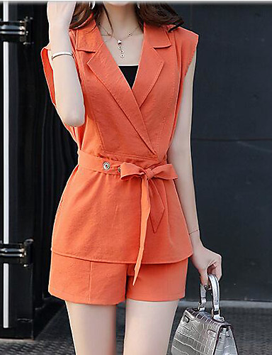 Women's Daily Contemporary Summer Blouse Pant Suits,Solid Shirt Collar Short Sleeve Lace Micro-elastic