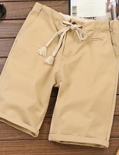 Men's Mid Rise Micro-elastic Chinos Pants,Simple Loose Solid