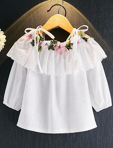 Girls' Floral Blouse,Rayon Spring Fall Long Sleeve Regular