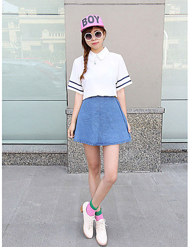 Denim Mikroelastisk 1/2 erme,Skjortekrage قميص Skjørt Drakter Ensfarget Stripet Med Tekstur Vår Sommer Enkel Vintage GatemoteUt på byen
