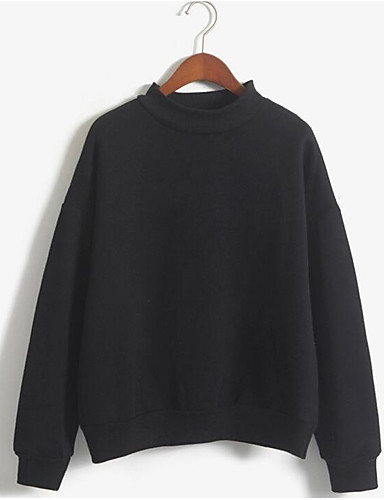 Women's Daily Casual Sweatshirt Solid Round Neck Inelastic Polyester Long Sleeve Fall Winter