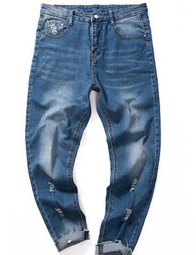 Herre Aktiv Elastisk Tynn Jeans Chinos Bukser,Mellomhøyt liv Ensfarget Sommer