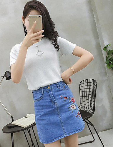 Women's Daily Casual Summer T-shirt Skirt Suits,Solid Round Neck Short Sleeve Polyester